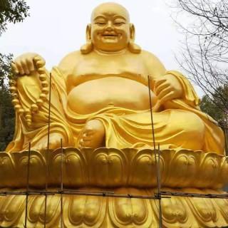 学龙佛像 大肚佛纯铜彩铜弥勒佛招财平安寺庙大型工艺钢雕