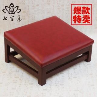 礼佛拜垫实木四脚皮拜垫拜佛垫跪垫方形皮拜椅佛垫拜佛凳