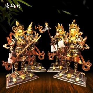 四大天王佛像 藏传佛教尼泊尔手工紫铜鎏金鎏银10寸密宗佛像摆件