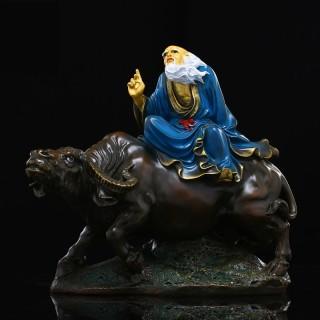 太上老君道教道摆件德天尊神像纯铜铜彩绘老子骑牛家居摆设