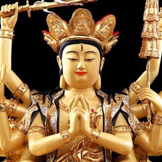 台湾铜鎏金准提菩萨佛像供奉家用开光准提佛母像密宗佛像摆件