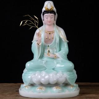 天蓝手绘汉白玉观音菩萨佛像南海观世音神像家居供奉保平安观自在