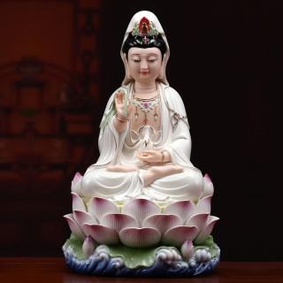 观音佛像供奉家用 陶瓷佛像居家供奉开光观世音菩萨 顺丰包邮