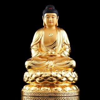 台湾手工贴金释迦牟尼佛药师佛像纯铜如来佛祖阿弥陀佛三宝佛摆件