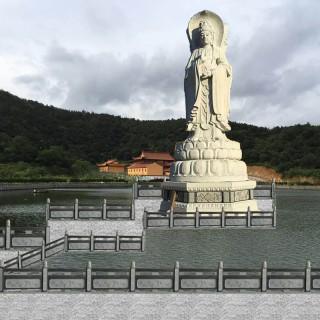 天平石雕    大理石观音菩萨站像石雕寺院祭祀佛像大型滴水观音汉白玉雕刻摆件