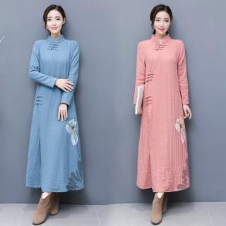 秋冬装新款手绘棉麻茶服女中国风居士服外套大衣