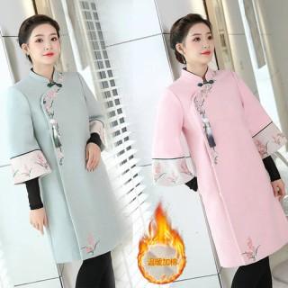 延禧攻略同款中国风改良汉服秋冬装毛呢大衣旗袍领外套女