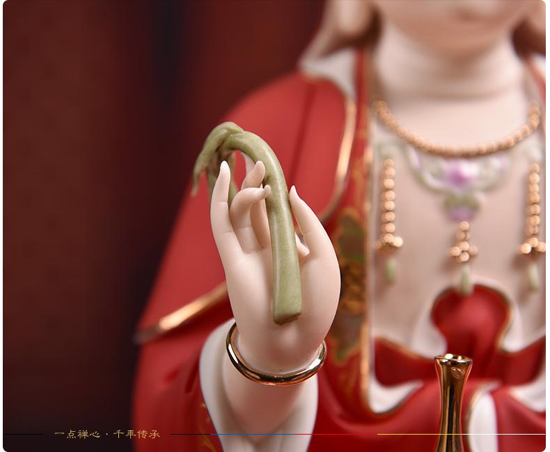 观音菩萨供奉佛像陶瓷摆件14吋描金边红衣彩坐莲观世音