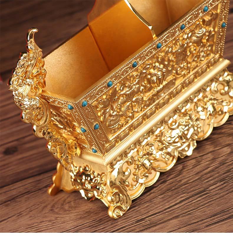 批发藏传佛教用品佛堂供佛摆件双色金八吉祥五谷盒供品盒厂家特价