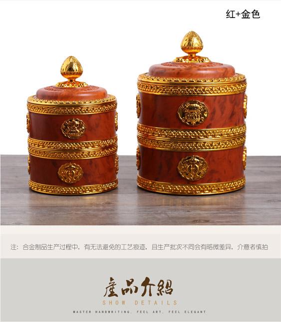 新品藏式糌粑盒藏族谷物供品收纳佛教八吉祥双层吉祥盒不锈钢内胆