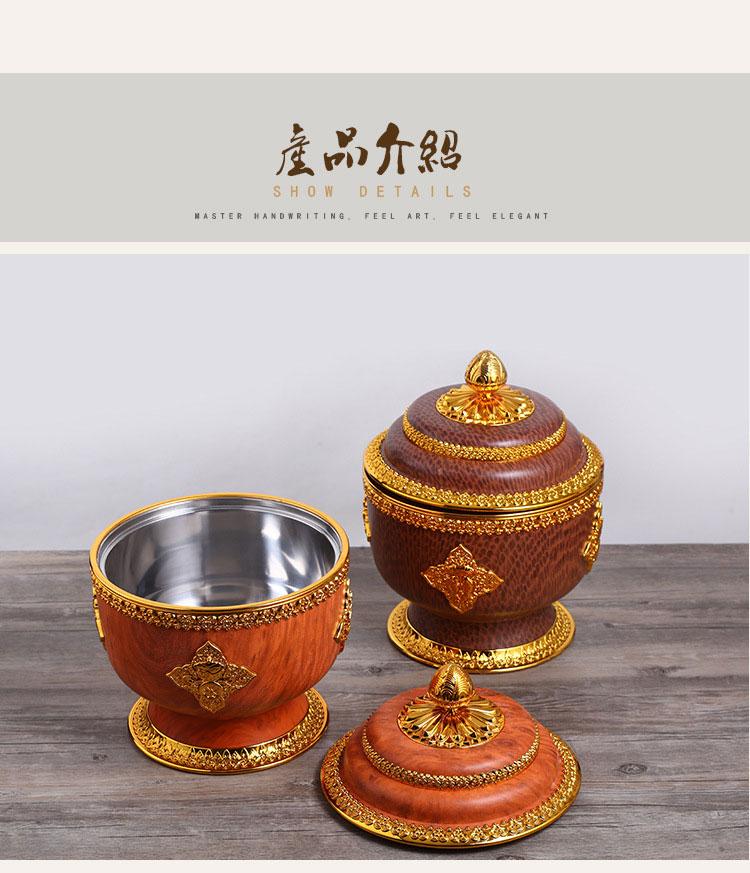 新款藏式佛教用品八宝祥瑞盒藏族干果供品谷物糌粑收纳盒厂家批发