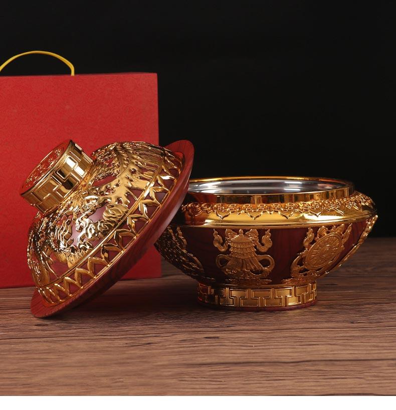 厂家批发祥云干果盒供佛五谷米盒佛堂佛教供品盒藏式八吉祥糌粑盒