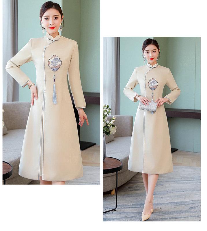 冬装新款改良优雅复古中国风文艺加厚毛呢旗袍裙