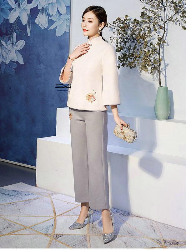 2019春季新款中国风复古毛呢中式汉服女旗袍套装裙茶服两件套