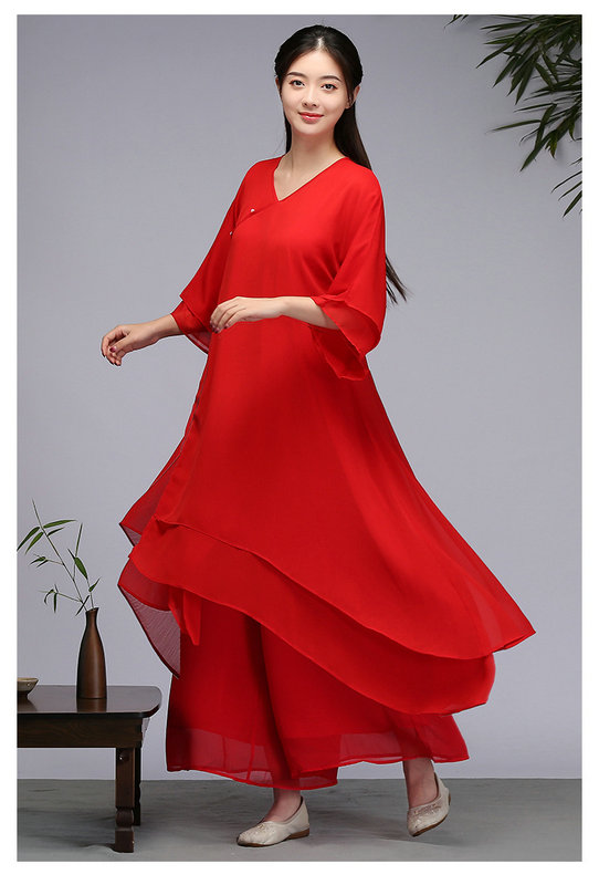 茶服女文艺复古气质中国风连衣裙 禅意改良汉服禅舞服民族风